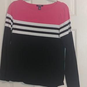 CHAPS Striped Pink/Black/White L/S  Top